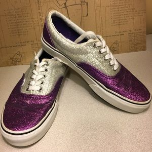 Vans Glitter Sneakers Purple and Silver Unisex